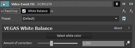 VEGAS Pro 15 - Auto White Balance