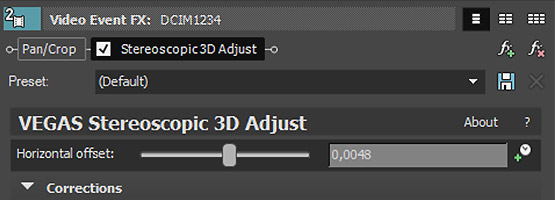 VEGAS Pro 15 - Stereoscopic 3D adjustments